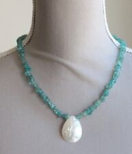 SKY BLUE APATITE & CREAM SHELL PENDANT NECKLACE ~ SILVER PLATED  18""