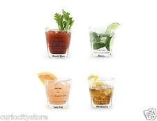 Set de 4 vasos con receta de 4 diferentes cócteles Bartending Fiesta cumpleaños