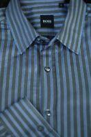 Hugo Boss Men's Stone Gray & Blue Stripe Luxury Cotton Casual Shirt L Large