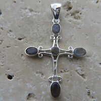 Canadian, Blue, Shining LABRADORITE Cross Pendant, 925 STERLING SILVER #0062