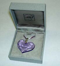 Authentic LALIQUE France Purple Heart Angel Cherub Crystal Pendant Necklace NIB