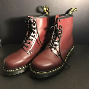 Men's Shoes Dr. Martens 1460 8 Eye Leather Boots Great Shape! CHERRY RED SMOOTH