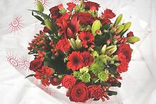 FRESH REAL Birthday  Flowers Delivered Ruby Red Bouquet FREE UK Next Day by Post