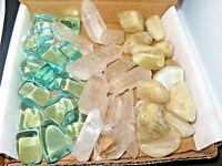 Tumbled Stone and Crystal Box  1lb and 1/2 (Clear Quatz/Blue Obsidian/Moonstone)