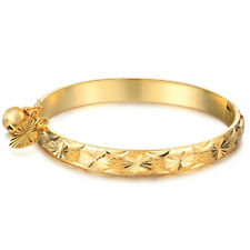 18K Gold Plated Bell Heart Bracelet Children Boys Girls Kids Baby Jewelry Bangle