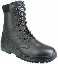 Black Full Leather SIDE ZIP Army Combat Patrol Boots Cadet Military Security 927