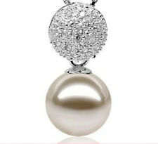HUGE 13-14MM NATURAL SOUTH SEA GENUINE perfect round WHITE PEARL PENDANT @@@