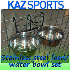 HANGING CAGE FEED / FOOD AND WATER BOWLS FOR DOG, CAT, RABBIT, GUINEA PIG ETC.