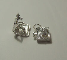 READING BOOKWORM OPENS 3D CHARM 925 STERLING SILVER