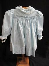 Antique Victorian Young Girls Dress - Pale Blue Embroidered & Lace c1900