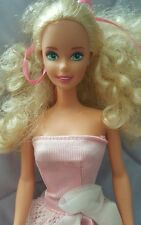 Mattel Barbie DOLL Blonde Hair Green Eyes 1976 Vintage Pink Dress