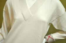 Burberry Brit Womens Nova Check Cuff Cashmere V-Neck Pullover Sweater Sz L