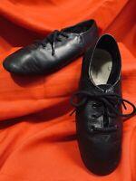 ABT  Spotlights . Black Split Sole Leather Lace Up Dance Shoes . Child Size 13.5