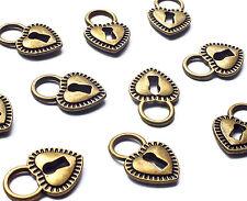 10 x Bronze Tone Metal Love Heart Shaped Lock Padlock Charms, Vintage Jewellery