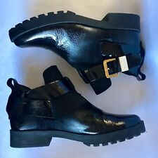 Black Ankle Boots With Gold Buckle Size 36