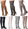 SALE Ladies Womens Over The Knee Wide Stretch Suede High Stilleto Heel Zip Boots