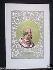 1879 SAN EUGENIO I EUGENIUS ANTICA STAMPA CROMOLITOGRAFIA PAPA PAPI POPE D247 m