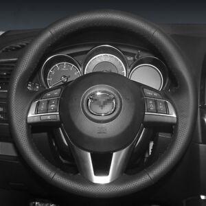 For Mazda CX-5 CX-3 Mazda 3 customized steering wheel cover Black Holes Leather