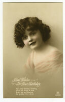 c 1914 Children Kids ADORABLE GIRL tinte British photo postcard