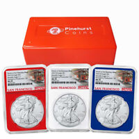 2021 (S) $1 American Silver Eagle  3 pc. Set NGC MS70 Emergency Production Troll