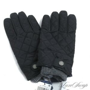 NWT Polo Ralph Lauren Black Quilted Leather Palm Grey Knit Cuff Winter Gloves M