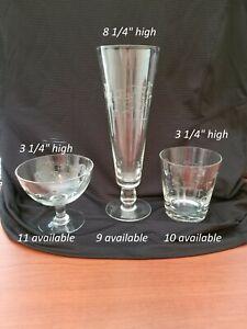 Noritake Sasaki Bamboo etched crystal glasses. Vintage 1960s. (56 pcs) ...