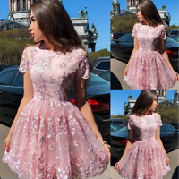 Lady Flower Lace Short Sleeve Pleated Skater Princess Dress Cocktail Party Prom