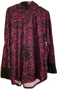 LulaRoe 2XL Amber Hoodie - Black With Fuchsia Floral , Hacci Sweater - Pre-Owned