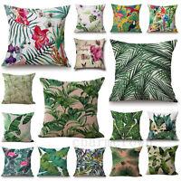 New Hot Tropical Plants Cotton Linen Cushion Cover Throw Pillow Case Home Decor