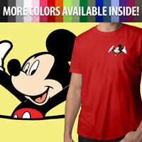 Disney Happy Mickey Mouse in Pocket Cute Cool Mens Crew Neck Tee Unisex T-Shirt