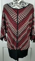 WHBM Womens Sweater Size Large Red Black White Stretch