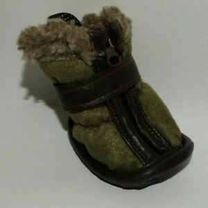 NEW Petrageous Designs Cheyenne Boots Forest Green Faux Suede Sherpa XS 2.75""