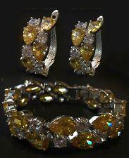 14k White Gold Bracelet Earrings Set made w/ Swarovski Crystal Citrine Stone