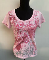 First Avenue Ladies Pink Butterfly Jewelled Top Size 10 <EC767