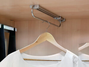 Wardrobe Pull Out Clothes Hanger Rail Chrome 300, 350, 400, 450mm