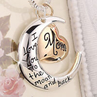 Heart & Moon Mom Necklaces Silver Xmas Gifts For Her Mum Mother Women