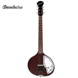 NEW Danelectro DBSITAR-RDC Baby Sitar Round Body Electric Guitar Red Crackle