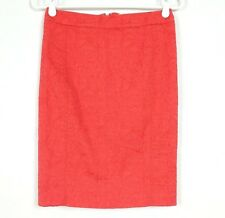 Anthropologie Vanessa Virginia Size 2 Pencil Skirt Orange Red Brocade Textured