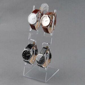 4 Slots Clear Plastic Watch Bracelet Jewelry Showcase Display Stand Holder-Rack