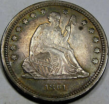 1861 Seated Liberty Quarter Dollar Choice AU+... Very Nice Album Rim Toned Coin!