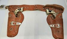 Vintage Pair HUBLEY TEXAN JR Cap Guns Six Shooter with Leather Double Holsters
