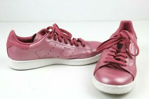 Adidas Stan Smith Mens 7.5 Shiny Iridescent Pink Leather Tennis Shoes Lace Up