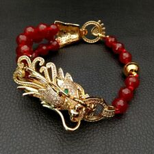 8mm Round Faceted Red Agate Cz pave Dragon Connector Bracelet