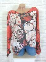 ITALY Feinstrick Shirt Pulli Pullover Lurex Strass  Eule 42 44 46 Koralle E845