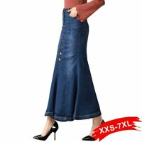 Ladies Casual Skirts Long Ankle-length Denim Flare Button Ups Female Jeans Skirt