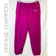 New listing Vintage Champion Womens M Solid Magenta Pink Activewear Sweat Pants Made In Usa