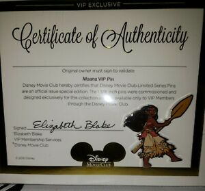 Disney Movie Club Moana VIP Exclusive Pin Certificate - NEW