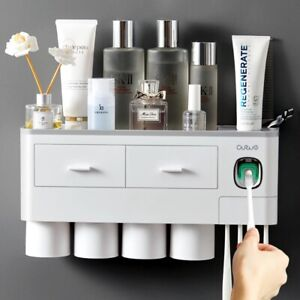 Magnetic Inverted Adsorption Toothbrush Holder Toothpaste Bathroom Cup Squeezer