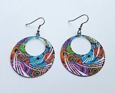 Statement Earrings bright bold dangle drop enameled metal multicolour design big