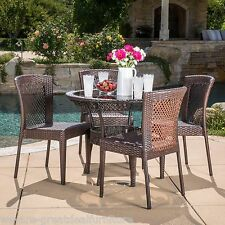 Outdoor Patio Dana 5pc Multibrown All-Weather Wicker Glass Table Top Dining Set